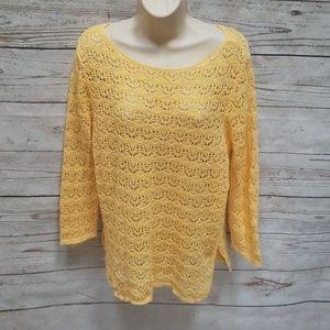 Jeanne Pierre Yellow Crochet Knit Sweater